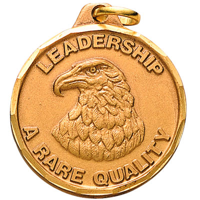 "1-1/4 Inch Diamond Cut Border ""Leadership-A Rare Quality"" with Bald Eagle Medal"