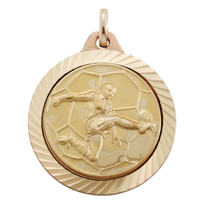 1-1/4 Inch Medal Diamond Cut Border Frame with Male Soccer Player Medallion Insert Disc