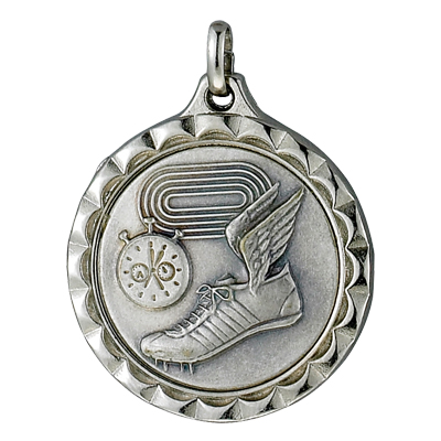 1-1/4 Inch Medal Frame with 1 Inch Track, Stopwatch, and Winged Cleat Medallion Insert Disc