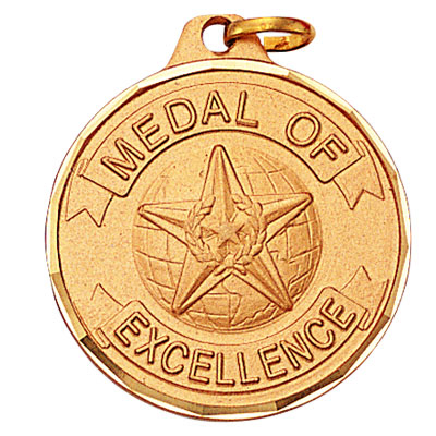 "1-1/4 Inch Diamond Cut Border ""Medal of Excellence"" with Globe and Star Medal"