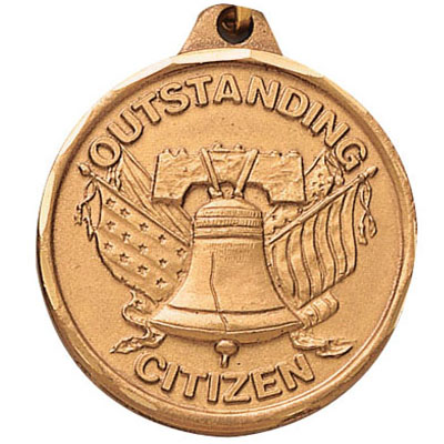 "1-1/4 Inch Diamond Cut Border ""Outstanding Citizen"" with Liberty Bell Medal"