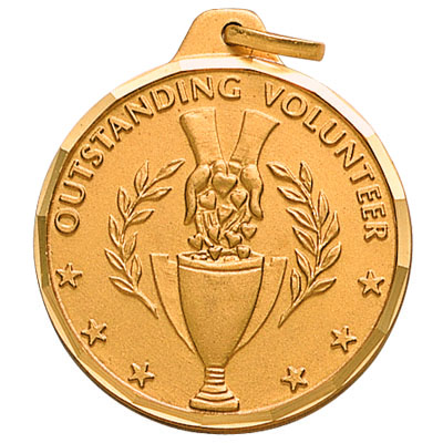"""1-1/4 Inch Diamond Cut Border """"Outstanding Volunteer"""" with Hand Outreaching with Trophy Medal"""