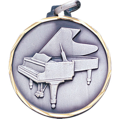 1-1/4 Inch Diamond Cut Border Piano Medal