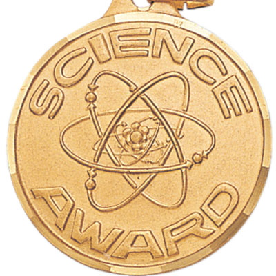 "1-1/4 Inch Diamond Cut Border ""Science Award"" with Atoms Medal"