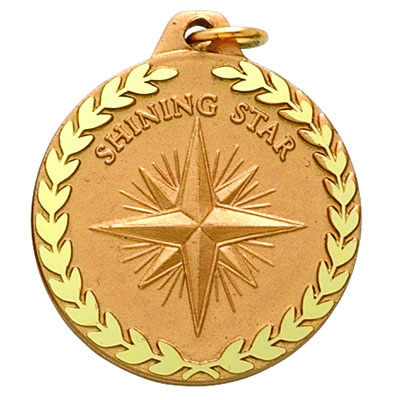 """1-1/4 Inch Diamond Cut Border """"Shinning Star"""" with Star and Wreath Medal"""