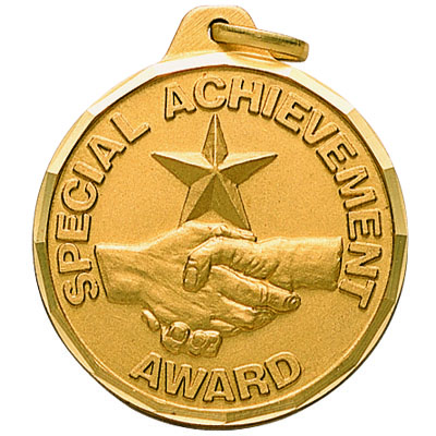 "1-1/4 Inch Diamond Cut Border ""Special Achievement Award"" Handshake with Star Medal"