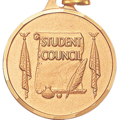 "1-1/4 Inch Diamond Cut Border ""Student Council"" with Feather Pen and Scroll Medal"