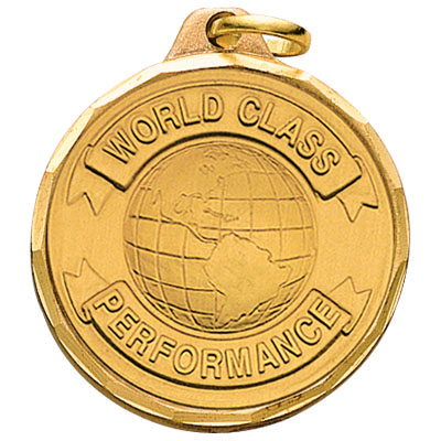 "1-1/4 Inch Diamond Cut Border ""World Class Performance"" with Globe Medal"