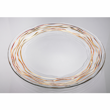 12-1/2 Inch Glass Charger Plate with Gold Wavy Leaf Border