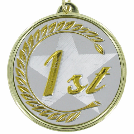 """2-1/4 Inch Medal Frame with 2 Inch """"1st"""" Embosed Mylar Insert Label"""