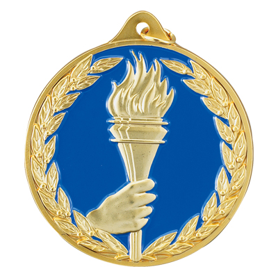 2-1/2 Inch Gold High Relief Enameled and Wreath Border with Torch in Hand Medal