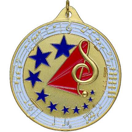 2-1/2 Inch High Relief Enameled G-Clef with Stars and Music Notes Medal