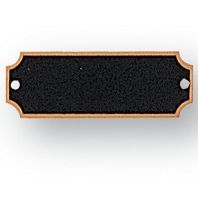 2-1/2  X 7/8 Inches Black Plate with Gold Trim and Notched Corners