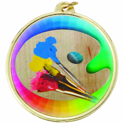 2-1/4 Inch Medal Frame with 2 Inch Art Painting and Palette Mylar Insert Label
