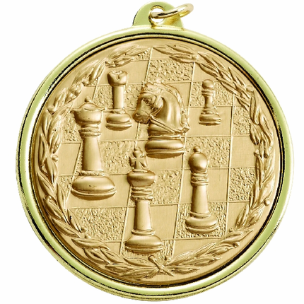 2-1/4 Inch Medal Frame with 2 Inch Chess Board and Pieces Medallion Insert Disc