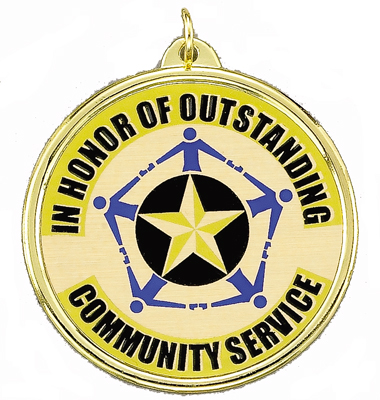 "2-1/4 Inch Medal Frame with 2 Inch ""In Honor of Oustanding Community Service with Star Mylar Insert Label"