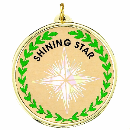 "2-1/4 Inch Medal Frame with 2 Inch ""Shining Star"" with North Star and Wreath Mylar Insert Label"