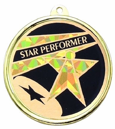 "2-1/4 Inch Medal Frame with 2 Inch ""Star Performer"" and Star Mylar Insert Label"