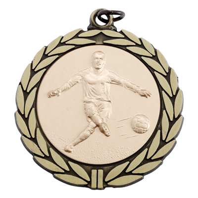 2-3/4 Inch Medal Antiqued Wreath Border Frame with 2 Inch Soccer Player Medallion Insert Disc