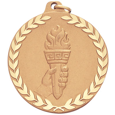 2 Inch Diamond Cut Border Achievement Torch in Hand Medal