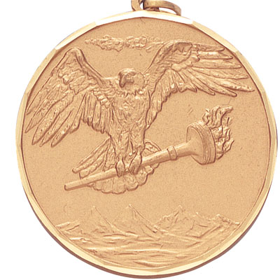 2 Inch Diamond Cut Border Eagle with Achievement Torch Medal