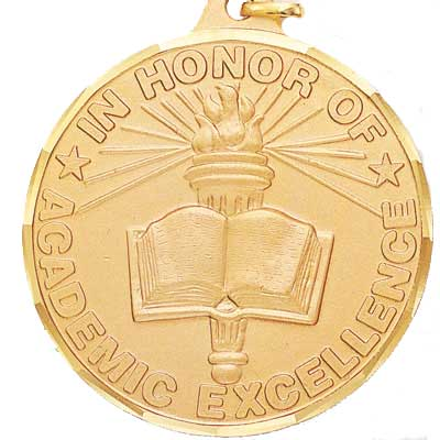 "2 Inch Diamond Cut Border ""In Honor of Academic Excellence"" with Torch and Book Medal"
