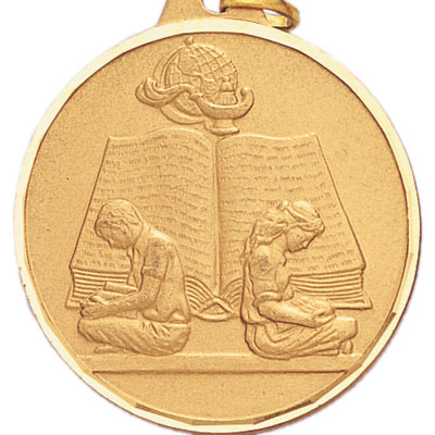 2 Inch Diamond Cut Border Boy and Girl Reading Medal