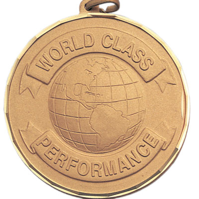 "2 Inch Diamond Cut Border ""World Class Performance"" Globe Medal"