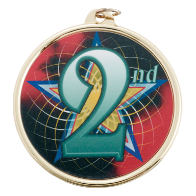 """2-1/4 Inch Medal Frame with 2 Inch """"2nd"""" Place with Star Mylar Insert Label"""
