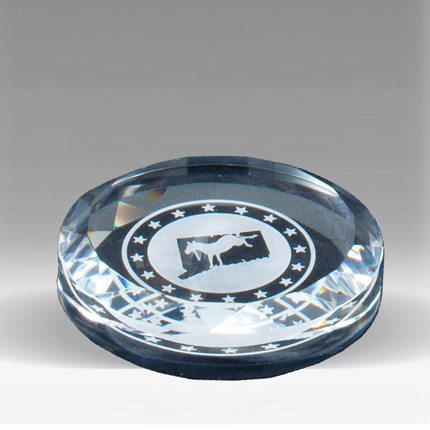 3-1/2 Inch Round Paperweight Optical Cut Crystal with Beveled Edge