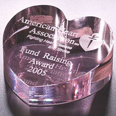 3 Inch Pink Optical Crystal and Heart Shaped Paperweight Award