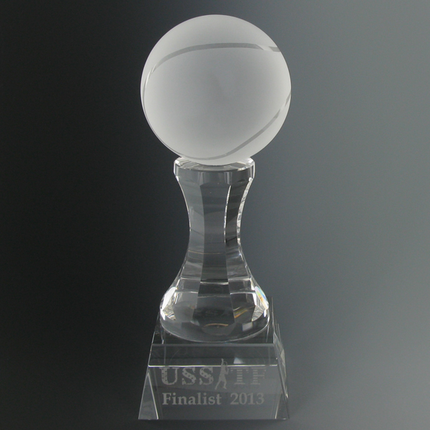 3 Inch Two-Piece Frosted Crystal Tennisball Shape on Pedestal Award
