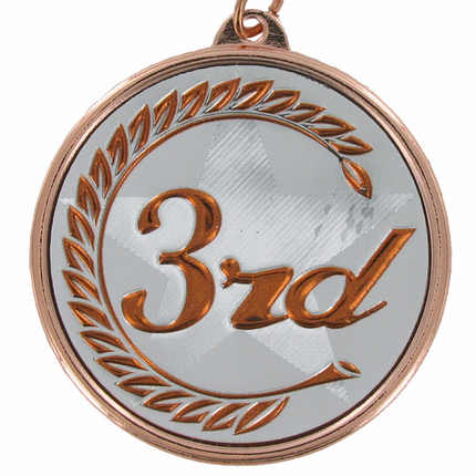 "2-1/4 Inch Medal Frame with 2 Inch  ""3rd"" Embossed Mylar Insert Label"