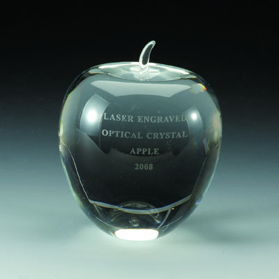 4-1/2 x 4 Inches Optical Crystal Apple Paperweight