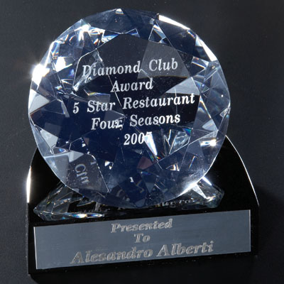 4 Inch Two-Piece Optical Crystal Cut Shaped Diamond on Black Base Award