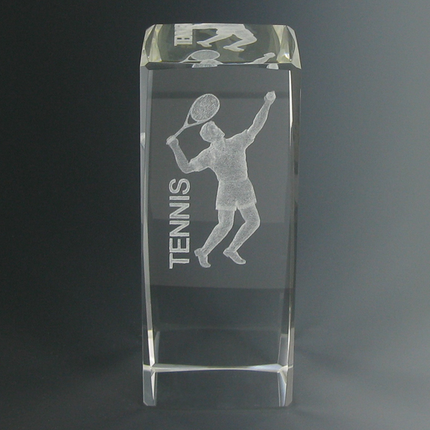 4-5/8 Inch Optical Crystal Laser Engraved Male Tennis Player Award