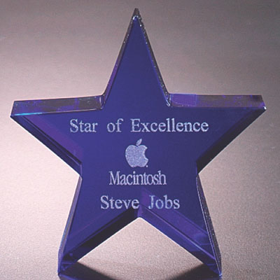 4 Inch Optical Crystal Cut and Blue Star Shaped Paperweight