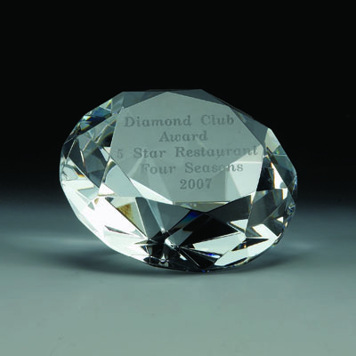 4 Inch Optical Cut Crystal Shaped Diamond Paperweight