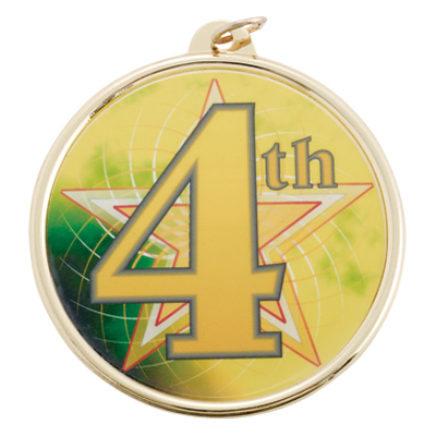 "2-1/4 Inch Medal Frame with 2 Inch ""4th"" Place with Star Mylar Insert Label"