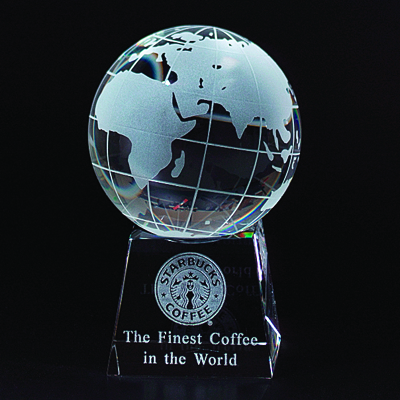 5 Inch Two-Piece Optical Crystal Globe on Base Award