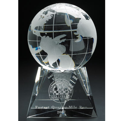 6-1/2 Inch Two-Piece Optical Crystal Globe on Base Award