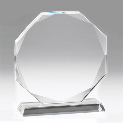 6-1/4 Inch Octagon Shape Optical Crystal Award