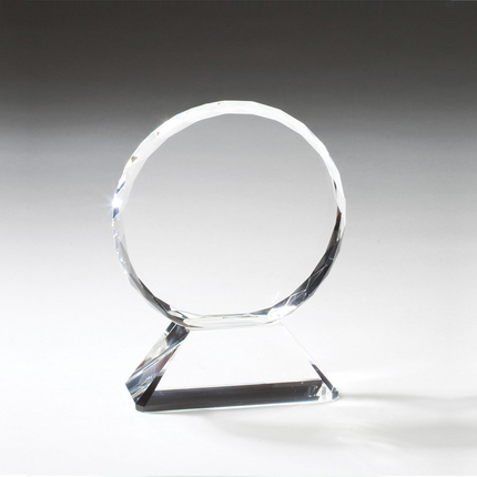 6-3/4 Inch Round Beveled and Faceted Optical Crystal on Triangular Base