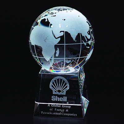 6 Inch Two-Piece Optical Crystal Globe on Base Award