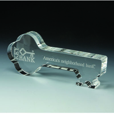 6 Inch Optical Crystal Cut Shaped Key Award
