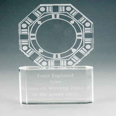 6 Inch Optical Cut Crystal and Etched Poker Award