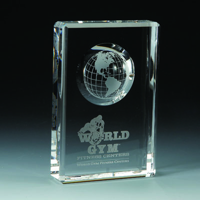 6 Inch Optical Cut Crystal with Recessed Globe Award