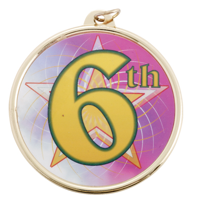 "2-1/4 Inch Medal Frame with 2 Inch ""6th"" Place with Star Mylar Insert Label"