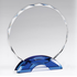7-3/4 Inch Round Cut and Beveled Crystal Award on Blue Double Arch Base