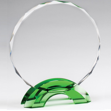 7-3/4 Inch Round Cut and Beveled Crystal Award on Green Double Arch Base